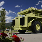 big yellow truck in Sparwood, BC