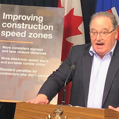 Transportation Minister Brian Mason announces improvements to construction speed zones on provincial roads.