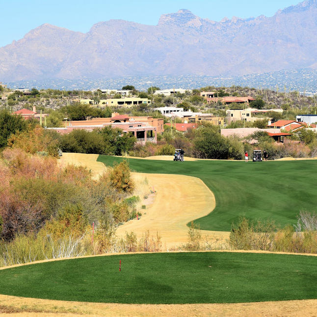 A golf course green with mountains in the background in Tucson, Arizona