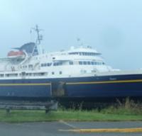 A photo of the Taku ferry docked.