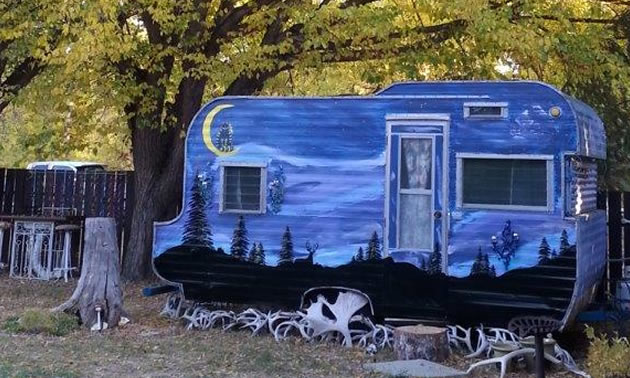 Terri Mason's Tee Pee trailer, parked at the end of her garden.