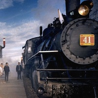 An old steam train stopped at the station Alberta Prairie Railway.