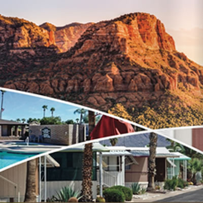 Collage of pictures showing Tricon gated communities, scenic mountain picture.