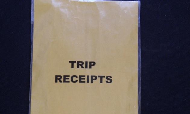 Trip receipts envelope.