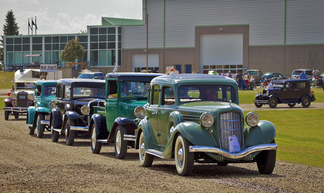 Vintage cars are lined up at the museum in Wetaskiwin, Alberta.
