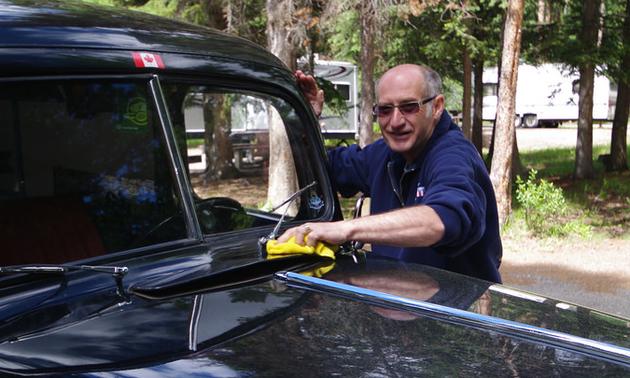 Ralf Blackwell polishing his '47 Ford Panel