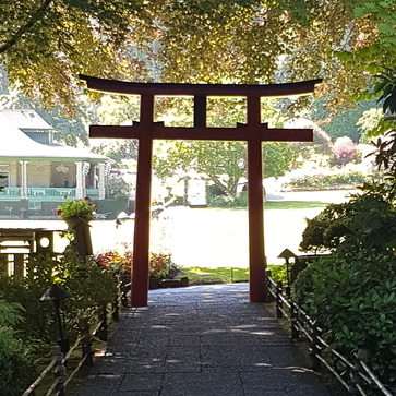 An archway at the Japanese Garden portion of the Butchart Gardens.