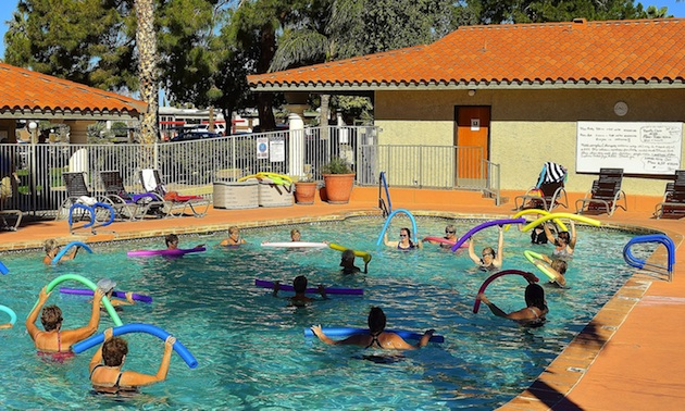 One of the daily exercise classes is held in the pool.
