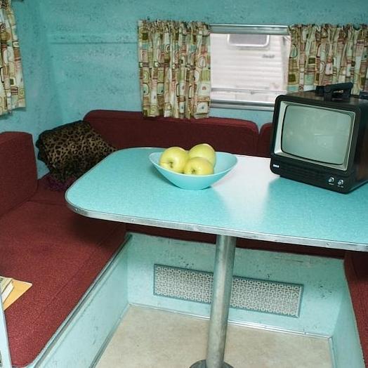 interior of a vintage RV unit
