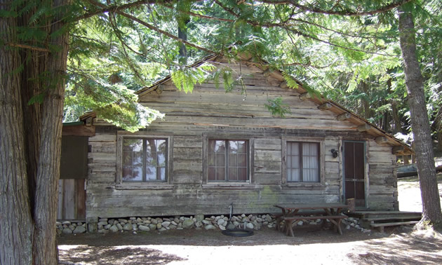 The Vinther-Nelson log cabin at Priest Lake, Idaho, is shaded by cedar trees.