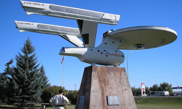 a roadside attraction, model of the star trek space ship