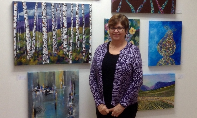 Wendy Provins displays her art at the Okanagan Art Gallery in Osoyoos, B.C. Photo courtesy Wendy Provins