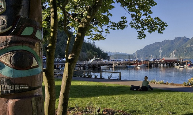 A section of walking path and park along the water in Horseshoe Bay near West Vancouver, BC.