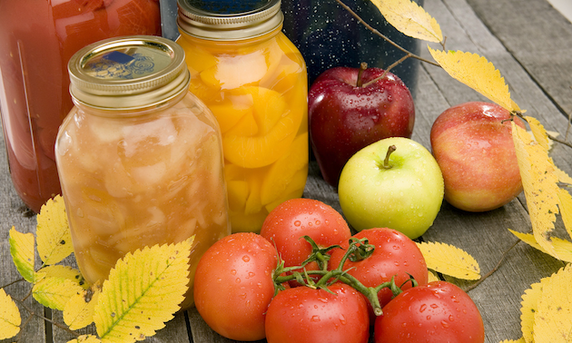 canned fruit, tomatoes and apples