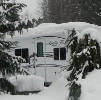 We are enjoying winter camping and skiing at Whistler. The trailer is an Arctic Fox 22G.