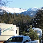 RV trailers, mountains, Whistler, Canada