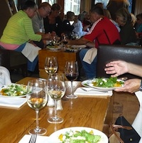 The golden beet salad, accompanied by white wine, was one of the items on a Whistler tasting tours. It was served at the FireRock Lounge in the Westin Hotel.