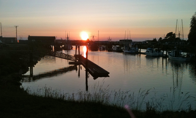 Sunset at Winchester Bay in the boat basin.
