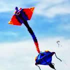 two people flying kites