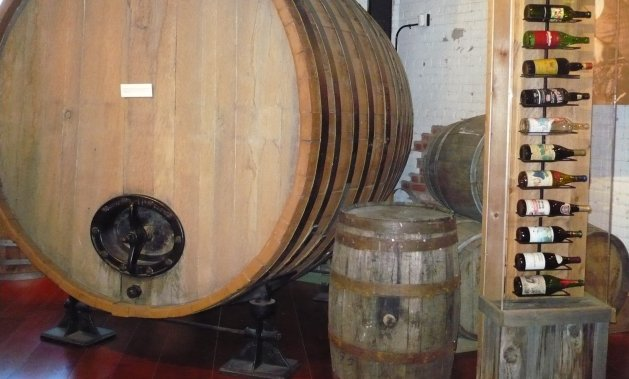 This large wine barrel from B.C.'s first winery, Calona Wines in Kelowna (which is still in business), was used for aging sherry.