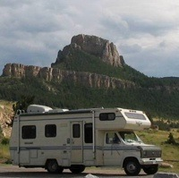 Winston Foster's 24-foot 1989 Ford Vanguard Class C Motor Home near Red Rock River in Montana.