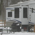 RV in a snowy campground