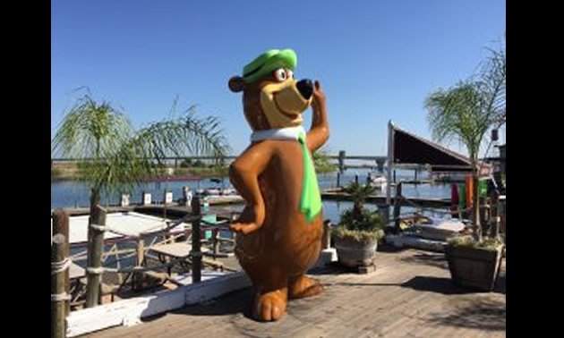 Large Yogi Bear statue.