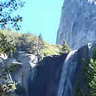 Bridalveil Falls  with trees surrounding